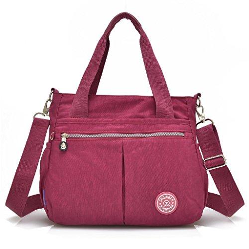 Grande borsa da donna con portachiavi a forma di scimmia, multitasche, borsa a tracolla impermeabile Red Wine