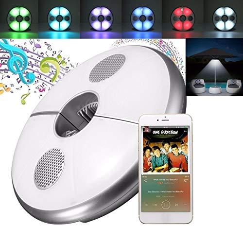 BLOOMWIN LED Schirmleuchte Sonnenschirmleuchte RGB LED Regenschirm Leuchte mit Bluetooth 3.0 Lautsprecher USB Wiederaufladbares Sonnenschirm Beleuchtung mit 4000mAh Lithium-ion Batterie