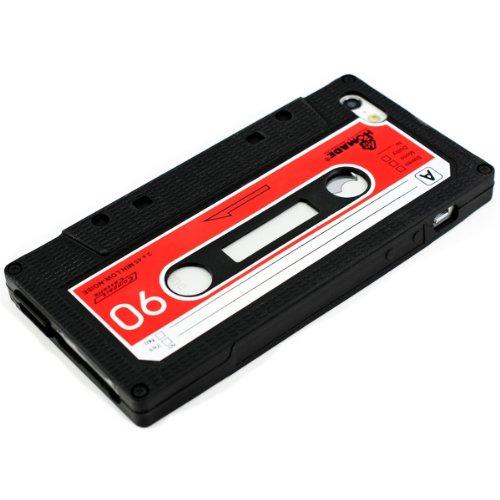 Cover 5s Kassette Iphone (kwmobile Hülle für Apple iPhone SE / 5 / 5S - TPU Silikon Backcover Case Handy Schutzhülle - Cover Kassette Design Rot Weiß Schwarz)