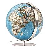 Fusion 3703 Executive: Leuchtglobus, 37 cm Durchm., Antikdesign-Kartografie von National Geographic, Edelstahlmeridian und -fuß, traditionell handkaschiert (Alter Globus)