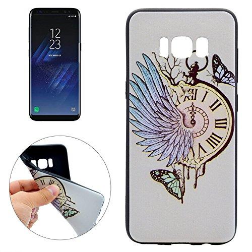 Samsung Galaxy S8 Taschenuhr Flügel Schmetterling Hülle [ TPU Case Engelsflügel Optik ] Smartphone Schutzhülle Cover Muster Design | Movoja® | grau (Engelsflügel Schmetterling)