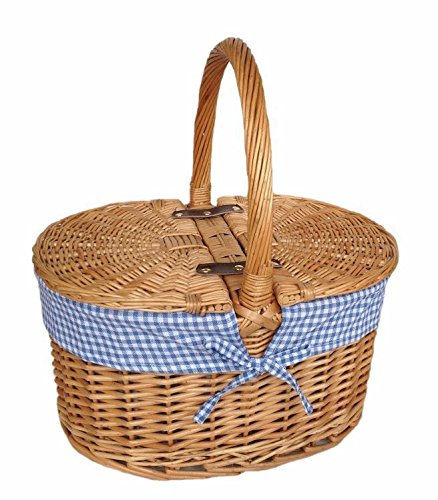 Red Hamper Blue Check Lining Oval Picnic Basket