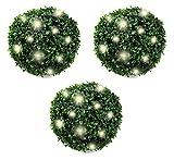 3er Set Solar Buchsbaumkugel Ø 20 cm | LED Buchsbaum Buchskugel Gartenleuchte