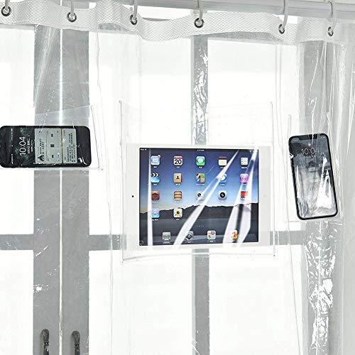 shuhong Klarer Duschvorhangfutter 12 Berührungsempfindliche Taschen Wasserfestes Tablet Oder Handyhalter IPad,Transparent-70 * 70