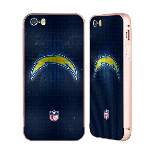 Ufficiale NFL Marmo 2017/18 Los Angeles Chargers Oro Cover Contorno con Bumper in Alluminio per Apple iPhone 5 / 5s / SE LED