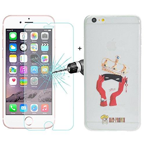 Proteggi il tuo iPhone, Enkay Cappello-Prince 2 in 1 carattere creativo del modello trasparente TPU Custodia protettiva + 0,26 millimetri 9H + Surface di durezza 2.5D a prova di esplosione di vetro te S-IP6S-3001L