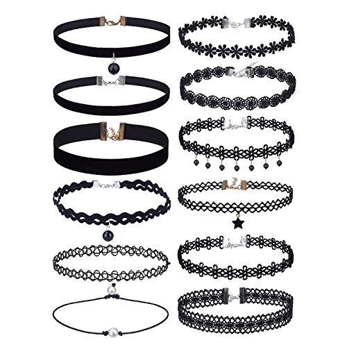 Set di collane a girocollo in velluto nero elasticizzato, 12pezzi