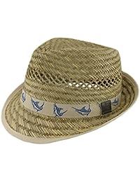 59f7684ccd7d8 Guy Harvey Wicker Mens Fedoras Guy Harvey 50S Style Straw Fedora Hat  W Khaki Marlin