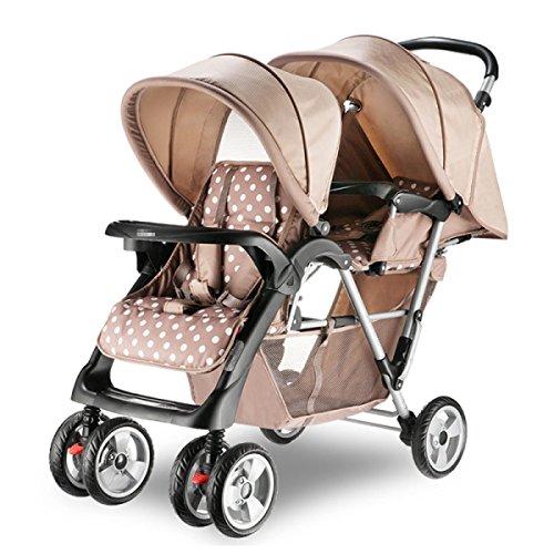 Zwillinge Kinderwagen Doppel Zwillinge Kinderwagen Faltbare Doppel Regenschirm Wagen Multi-Funktions