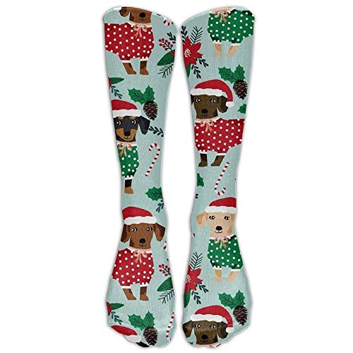 ized Cool Winter Warm Stockings Hot Christmas Sweaters Cute Dachshunds Compression and Best Medical Nursing Flight Women's Fitness Knee High Sock ()