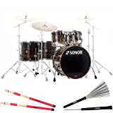 Sonor SSE 17 Stage 622 Birch Special Edition Shell Set Ebony Stripes + KEEPDRUM Rods u. Switch-Brushes
