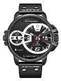 Alienwork Herren-Armbanduhr Quarz schwarz mit Lederarmband Kalender Datum XXL Oversized