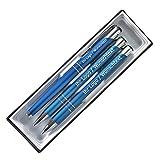 Edles Schreibset aus Metall mit Füller, Druckbleistift und Kugleschreiber mit Wunschgravur in Etui. 8 Farben wählbar (C-10A (blau))