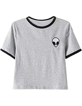 OLIPHEE Donna Raccolto T-Shirt Aliens Stampa Corta Top