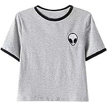 OLIPHEE Mujer Camisetas con Extraterrestre Impresa Camisetas Bolero Mujer Verano