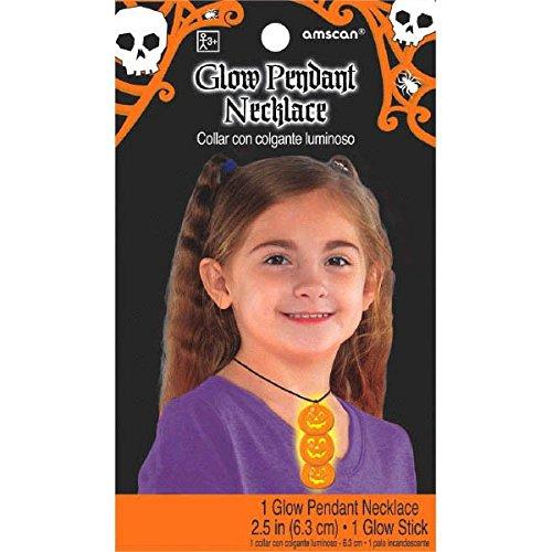 Amscan International 394196-556,3cm Glow in The Dark Kürbisse Halskette (Halloween-glow Tischdecke Dark The In)