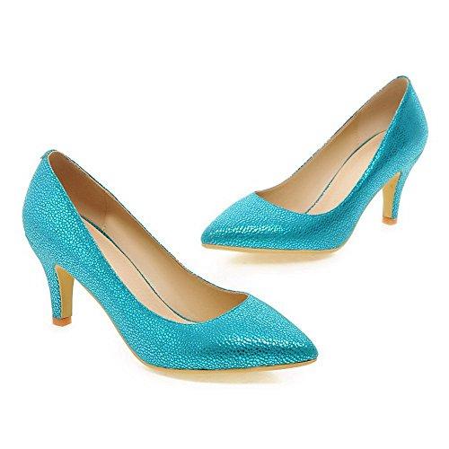 AllhqFashion Femme Pointu à Talon Haut Matière Souple Couleur Unie Tire Chaussures Légeres Bleu