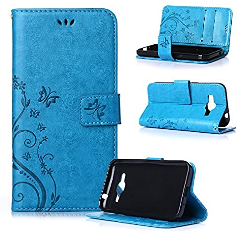 Beiuns Funda de PU piel para Samsung Galaxy Core Prime (4,5 pulgadas) Carcasa - R149 azul hermoso