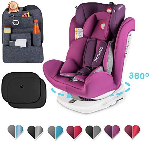 Lionelo Bastiaan Kindersitz, Autokindersitz ab Geburt, Rücksitz-Organizer und zwei Sonnenblenden, Gruppe 0+ 1 2 3 (0-36 kg), ISOFIX 360°, TÜV SÜD, ECE R 44/04 (Violett+Set)
