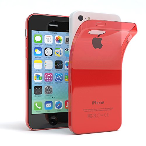 "Apple iPhone 5C Hülle, EAZY CASE Ultra Slim Cover ""Clear"" - Premium Handyhülle Transparente Schutzhülle, Smartphone Case in Transparent Rot"