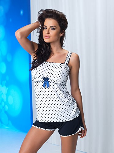 r-dessous exclusives Damen Nachtwäsche Viskose Pyjama kurz Schlafanzug Top mit Shorts Shorty sexy Blau