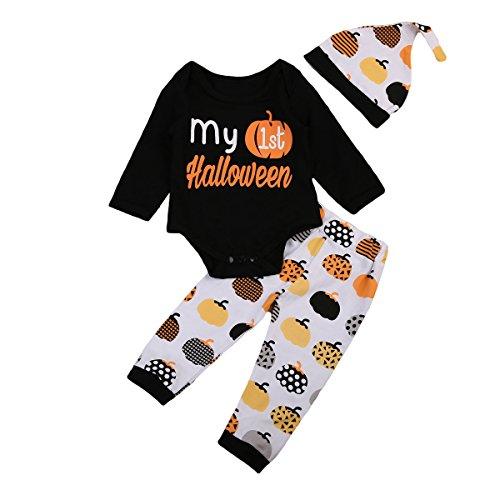 Niedliche Mädchen Kostüm Holloween - BriskyM Neugeborenes Baby-Mädchen Mein erstes Halloween-Ausstattungs-gesetzte Kürbis-Kleidung 3PCS (Schwarz, 18-24m)