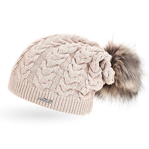 coole Damen Strickmütze Strick-Beanie gefüttert mit Fell-Bommel, Winter-Mütze,...