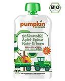 Bio-Babybrei im Quetschie von Pumpkin Organics - Babynahrung mit viel Gemüse, ohne Zusatzstoffe - GENUSS mit Süßkartoffel, Spinat, Mais, Erbsen mit Apfel (30x100g) ab dem 6. Monat