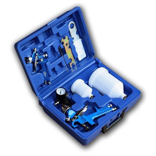 Preisvergleich Produktbild TecTake 2 x HVLP Lackierpistole + Set + Koffer 1,7mm + 1,0mm