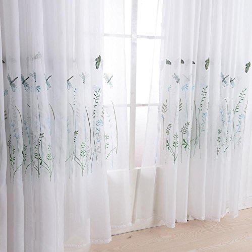Vorhänge & Drapes Sheer Vorhänge, bestickt Banana Leaves Lavendel Schmetterling Polyester für Fenster Behandlungen fertige Produkt Wohnzimmer Tülle Top One Panel, Butterfly, 1Stück (180* 260cm) (Leaf Butterfly Top)