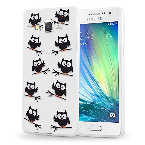 Preisvergleich Produktbild Cadorabo Hülle für Samsung Galaxy A3 2015 (5) - Hülle im Design Eule BLACKY – Handyhülle aus TPU Silikon mit Aufdruck - Silikonhülle Schutzhülle Ultra Slim Soft Back Cover Case Bumper