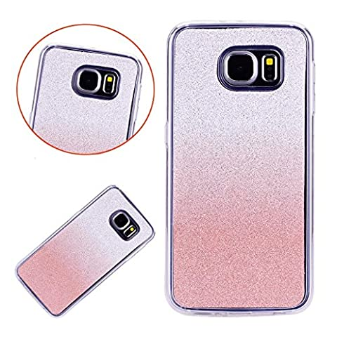 MUTOUREN Bling Soft Case for Samsung Galaxy S7 Glitter TPU Silicone Back Cover Gradient Color Shiny Sparkle Design High Quality Shell Shockproof Cell Phone Hull for Samsung Galaxy S7-Rosegold