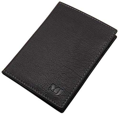 Pochette de carte d'identité en cuir de buffle MJ-Design-Germany en différentes couleurs (Noir)