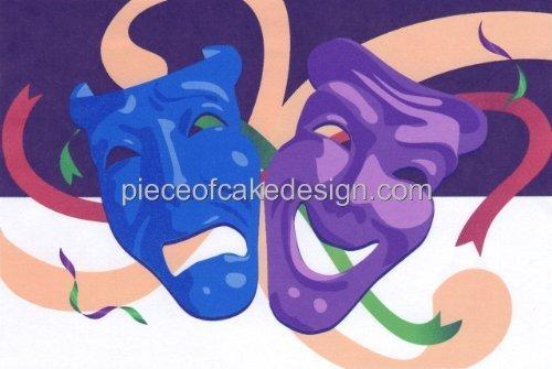 Theater Masken ~ Essbar Bild Kuchen, Topper DecoPac (Decopac-kuchen)