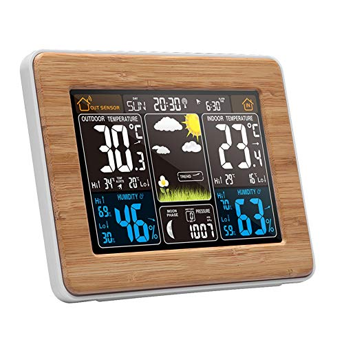 MSQL Drahtlose Wetterstation Digitale Wettervorhersage Indoor Outdoor Thermometer, Elektronischer Multifunktionswecker, Farbdisplay, Hintergrundbeleuchtung, Luftdruck, Mondphase