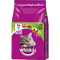 Whiskas Katzen-/Trockenfutter Adult 1+ für erwachsene Katzen mit Lamm, 3 Beutel (3 x 3,8 kg)
