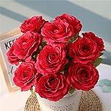 ASTARC Rose 12 Capitule Petits Bouquets De Roses Frais Fleur De Mariage Décoration Murale Fleurs Artificielles Parti Home Decor d'anniversaire Jardin (Rouge)...