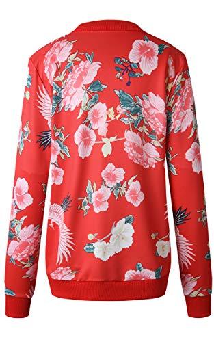 ECOWISH Damen Casual Jacke Blumenmuster Langarm Bomberjacke Reißverschluss Stehkragen Outwear Kurz Coat Herbst Frühling Rot S - 5
