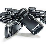 REKYO 12pcs 1 Zoll (25mm) schwarz Dual einstellbare Flachseite Release Kunststoff Schnallen Gurtband Schnalle Clips (12)