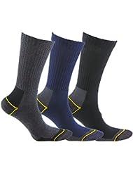Calcetín térmico de TRABAJO SIN COSTURAS y con talón y puntera reforzados, ideal para el uso con botas de trabajo o calzado de seguridad. También son idóneos para deportes de invierno (esquí, running, snowboarding, senderismo, pesca …), o situaciones de frío y humedad. (Gris, Azul y Negro, eu: 39 - 42 // uk: 6 - 8.5)