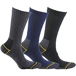 Calcetín térmico de TRABAJO SIN COSTURAS y con talón y puntera reforzados, ideal para el uso con botas de trabajo o calzado de seguridad. También son idóneos para deportes de invierno (esquí, running, snowboarding, senderismo, pesca …), o situaciones de frío y humedad. (Gris, Azul y Negro, eu: 43 - 46 // uk: 9 - 11)