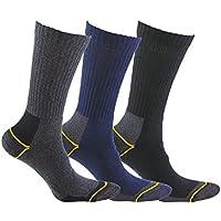 Calcetínes de TRABAJO SIN COSTURAS (3 pares) para todo el año, con talón y puntera reforzados, ideal para el uso con botas de trabajo o calzado de seguridad. También son idóneos para deportes de invierno (esquí, running, snowboarding, senderismo, pesca …), o situaciones de frío y humedad. (Gris, Azul y Negro, eu: 43 - 46 // uk: 9 - 11)