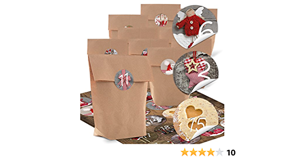 Calendrier de lAvent /à remplir,24 calendriers de lAvent Coffrets cadeaux en papier kraft avec 24 autocollants num/érot/és danimaux de la for/êt,kit de bricolage de No/ël pour enfants Un coffret cadeau
