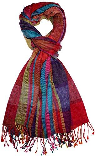 LORENZO CANA - Luxus Herren Schal Schaltuch aus weicher Wolle mit Baumwolle Frischgrat bunt mehrfarbig 70 x 190 cm Wollschal Wolltuch Tuch 7839711