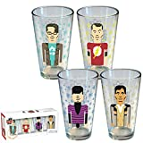 Big Bang Theory Pixilated Character 4 Pack Pint Glasses