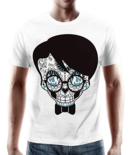 adrotes – T-Shirt MEXICAN SKULL BLUE FLAME weiß Gr. S - 5XL (T-shirt Blue Flame Skull)