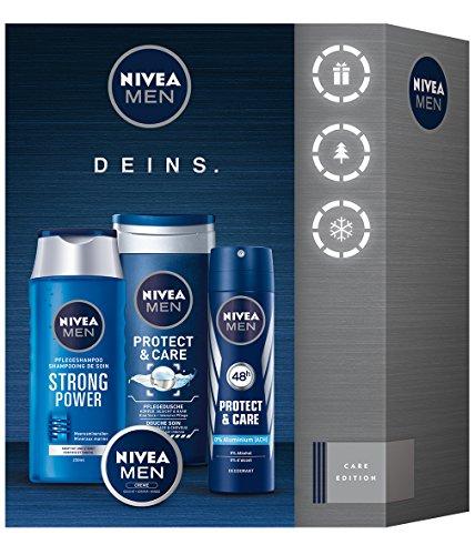 NIVEA Men Geschenkset für Männer mit Shampoo, Duschgel, Creme und Deodorant, Care Set, 4 Stück