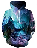 LAIDIPAS Unisex Realistische 3D Galaxy Printed Big Pockets Drawstring Pullover Kapuzenpulli mit Kapuze Sweatshirt XL