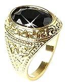 Rptrnr - Anillo de Oro Con Negro Piedra - Mide Una opción (20)