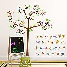 Decowall DA-1503 Alfabeto Animal y Árbol de Números de Búho Vinilo Pegatinas Decorativas Adhesiva Pared Dormitorio Salón Guardería Habitación Infantiles Niños Bebés